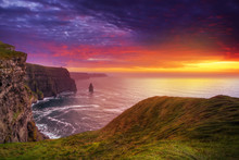 Idyllic Cliffs Of Moher At Sun...