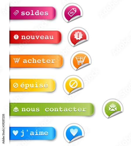 Fotografie, Obraz  étiquettes & boutons: achats