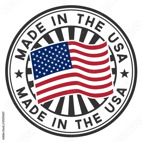 Photographie  A circular made in the U.S.A. vector decal or stamp