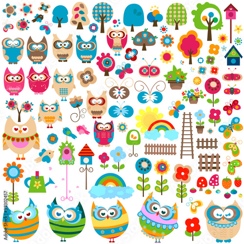 Papillons owls and garden themed elements