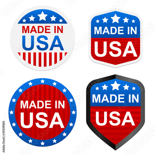 4 stickers - Made in USA. Vector illustration. Poster