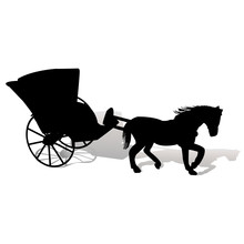 Black Silhouette Of A Horse Wi...