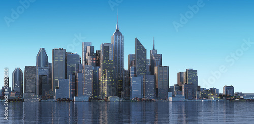 Cityscape generic with modern buildings and skyscrapers on water