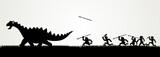 Fototapeta Dinusie - Cartoon figures chasing a dinosaur