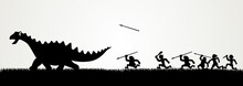 Cartoon Figures Chasing A Dino...