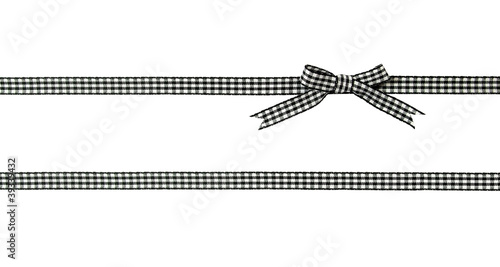 Fotografie, Obraz  noeud de ruban vichy noir et blanc