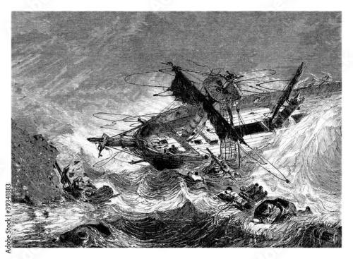Obraz na plátne Shipwreck - Naufrage - 19th