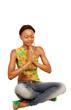 Pretty yoga prayer girl