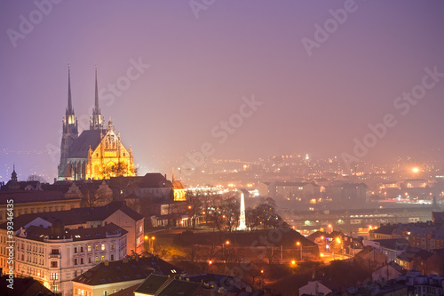 Fototapeta  nigth town with cathedral