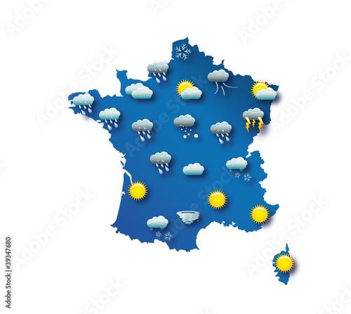 Fototapeta  Carte de prévision météo - France