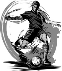 Fototapeta Do pokoju chłopca Soccer Player Kicking Ball Vector Illustration...