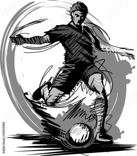 Photo  Soccer Player Kicking Ball Vector Illustration...