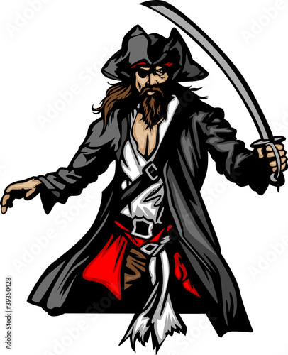 Pirate Mascot Standing with Sword and Hat Wallpaper Mural