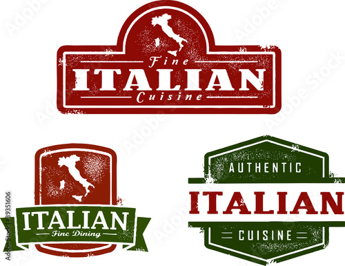 Fotografie, Obraz  Vintage Italian Restaurant Graphics