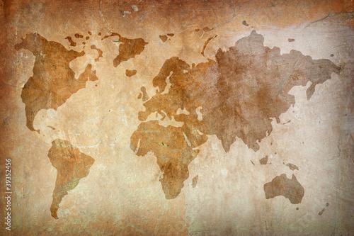 Spoed Foto op Canvas Wereldkaart Retro-styled map of the world.