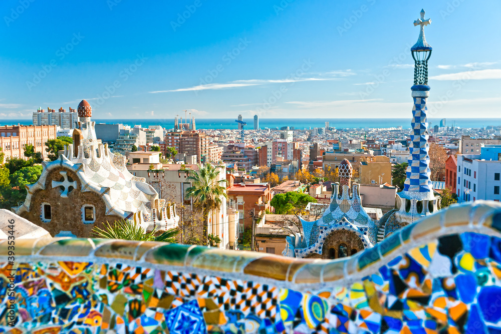 Fototapeta Park Guell in Barcelona, Spain.