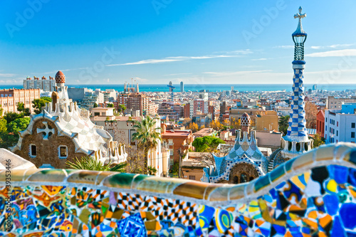 Photo  Park Guell in Barcelona, Spain.