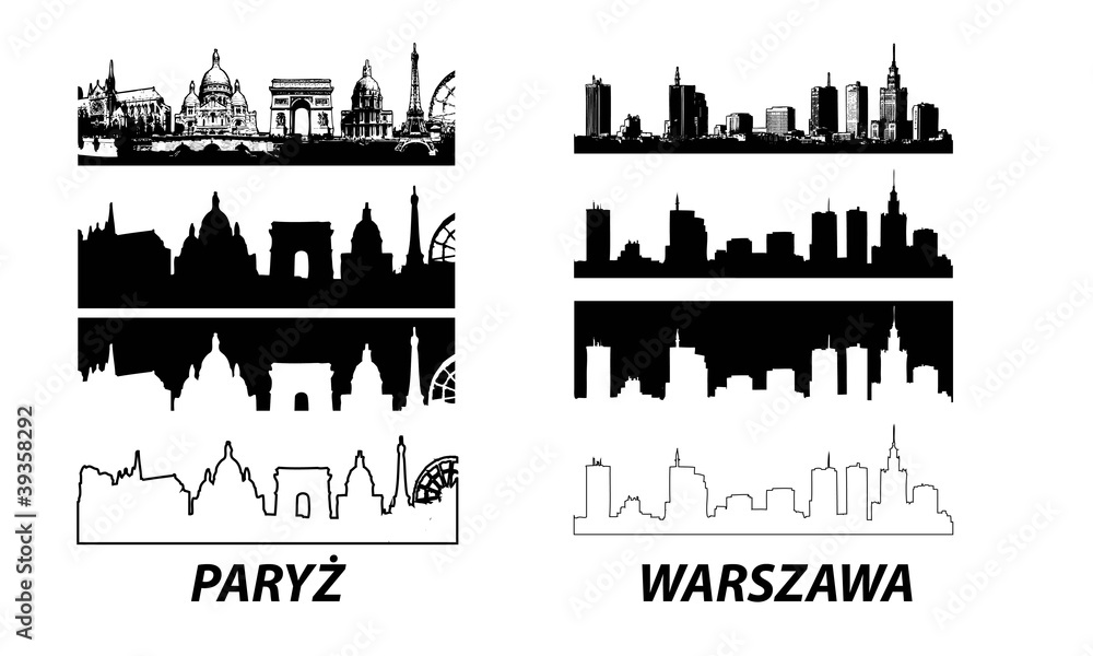 Fototapety, obrazy: Vector of European cities Warsaw Paris