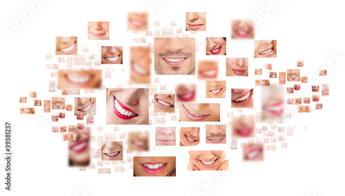 Faces of smiling people in set. Healthy teeth. Smile #39381237
