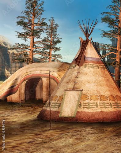 Poster Indiens Obóz indiański w lesie