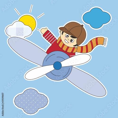 Poster Ciel Pegatina, niño volando en avión