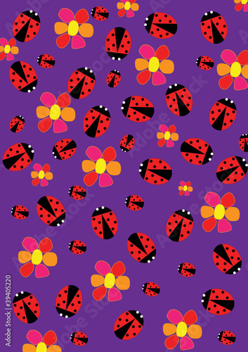 Poster Coccinelles Ladybugs and flowers