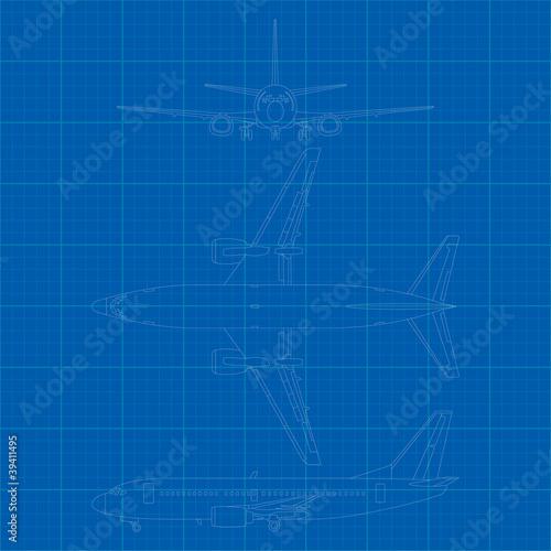 Fotografia  Vector illustration of modern civil airplane 3 side view