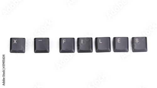 Keyboard keys saying x-files isolated on white Canvas Print