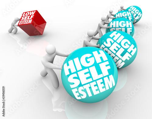 Fotografie, Obraz  High Vs Low Self Esteem Losing Race of Confidence Attitude