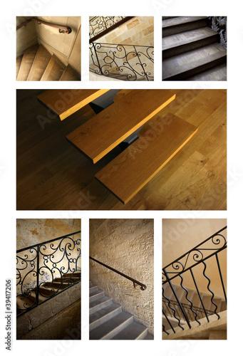 Escalier, architecture, intérieur, maison, bois, pierre ...