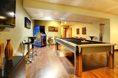 Fotografie, Obraz  Play party room home interior with pool table.