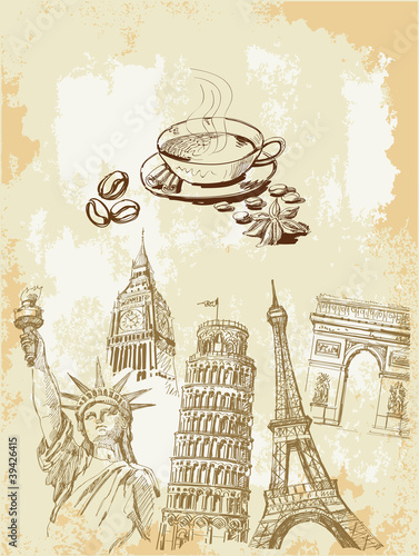Canvas Prints Doodle set of travel