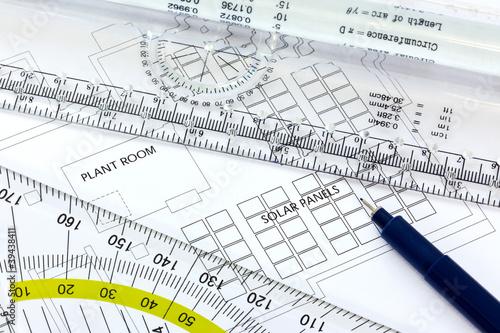 Fotografia, Obraz  Solar panels drawing with pen and ruler