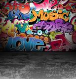 Graffiti ściana na miejskiej ulicy