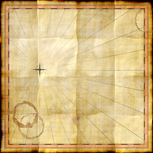 Empty map template on old paper with coffee stains - Buy this stock