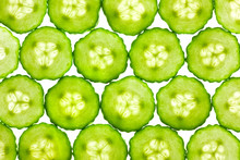 Slices Of Fresh Cucumber / Background / Back Lit