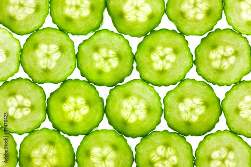 Photo sur Aluminium Tranches de fruits Slices of fresh Cucumber / background / back lit