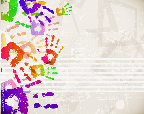Fotografie, Obraz  Retro Abstract Design Colorful Handprint Template