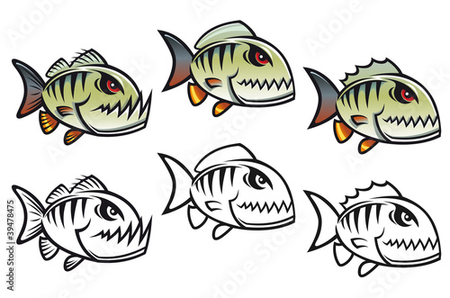 Angry cartoon piranha fish Canvas-taulu