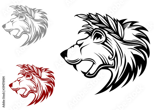 Fototapety, obrazy: Angry heraldic lion with laurel wreath