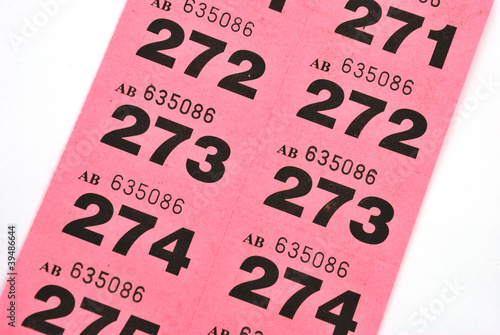 page of raffle tickets