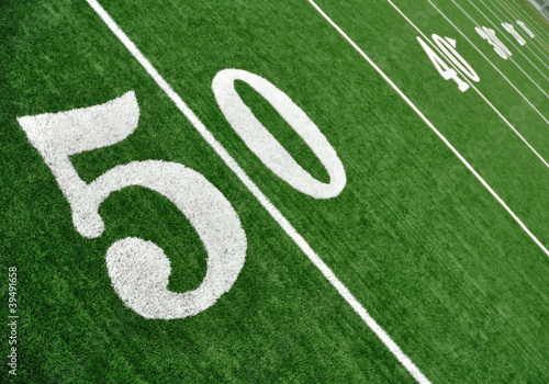 View From Above of Fifty Yard Line on American Football Field