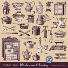 Kitchen & Cooking (2) - Assorted Vintage Illustrations