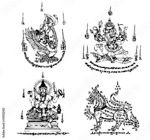 Fotografia  Thai Tattoo Ancient. Vector template