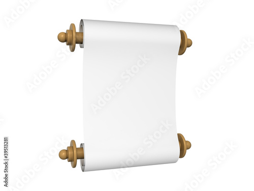 Paper scroll isolated on the white background Poster