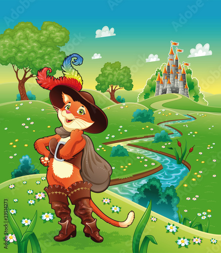 Photo Stands Castle Puss in boots and background. Cartoon vector illustration.