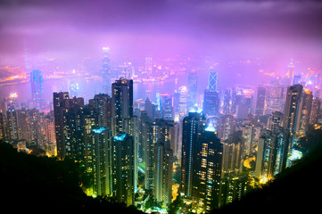 Panel Szklany Hong Kong Nght View
