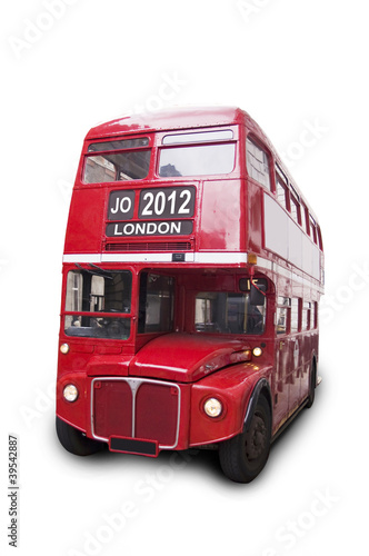 Poster Rouge, noir, blanc Bus rouge isolé fond blanc 2012 London
