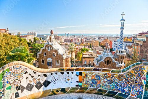 Tela Park Guell in Barcelona, Spain.
