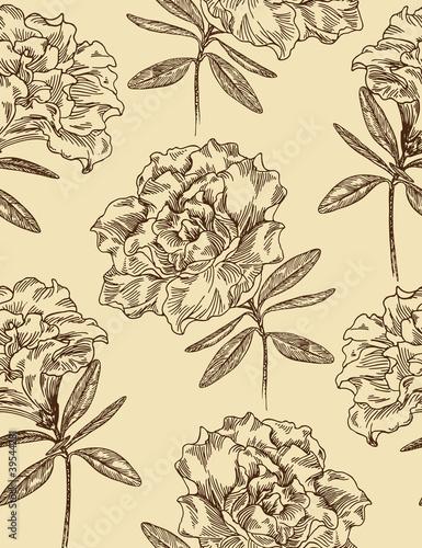 Keuken foto achterwand Abstract bloemen Azaleas. Seamless floral pattern in vintage style. Vector illust
